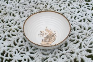 Classic Ceramic Bowl with Peacock and Gold Rim
