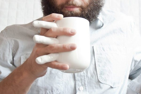 Funny mug with fingers
